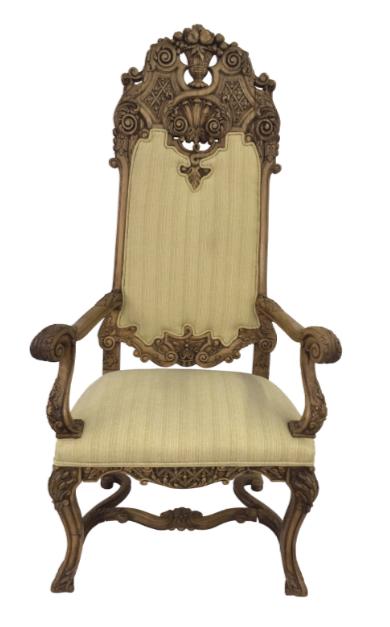 Carved Italian Walnut Throne Chair
