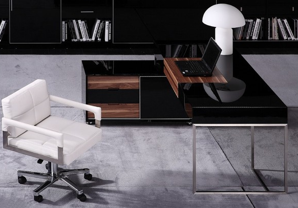 Modern Black Gloss Office Set