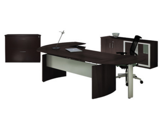 Modern L-shaped Office Suite Black