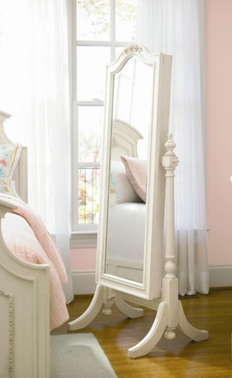 White Floor Mirror storage
